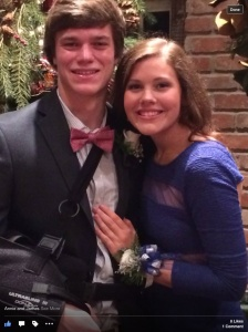 "James and his date Annie on their way to Winter Formal. Wish I could see him dancing to ""Staying Alive!"""